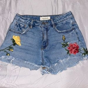 pac sun denim floral embroidery shorts